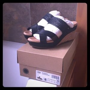 UGG Leather and Straw Wedge Sandal in Black